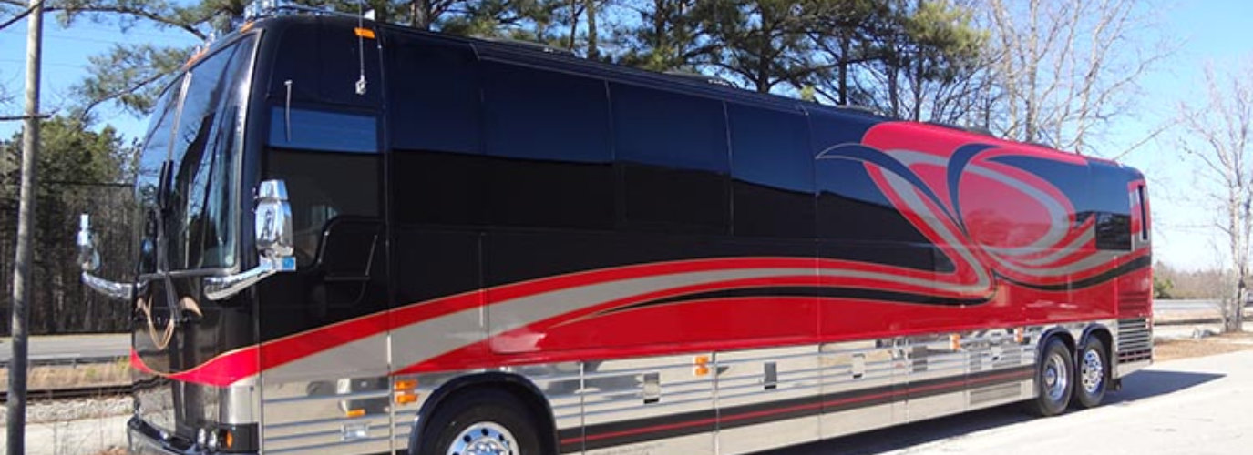Red and Black Luxury Bus